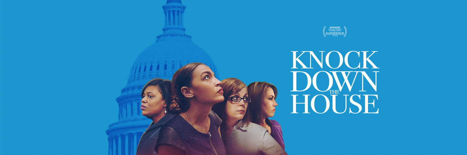 Blue poster for the movie 'Knock Down the House'